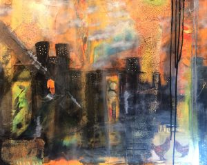 Mixed Media abstract art - city by Florence Ancillotti