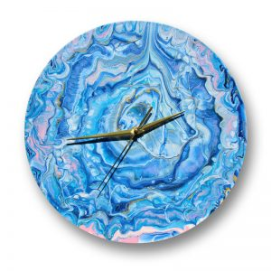 Acrylic pour clock on vinyl record by Florence Ancillotti