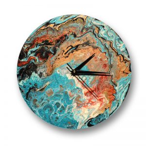 Acrylic pour clock on vinyl record