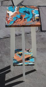acrylic pour on custom table by Florence Ancillotti