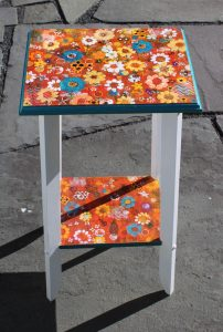unique acrylic pour table by Florence Ancillotti