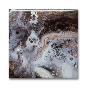 acrylic pour painted trivet by Florence Ancillotti