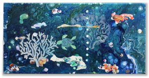 Mixed Media abstract art - under the sea by Florence Ancillotti