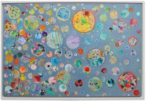 mixed media art with circles
